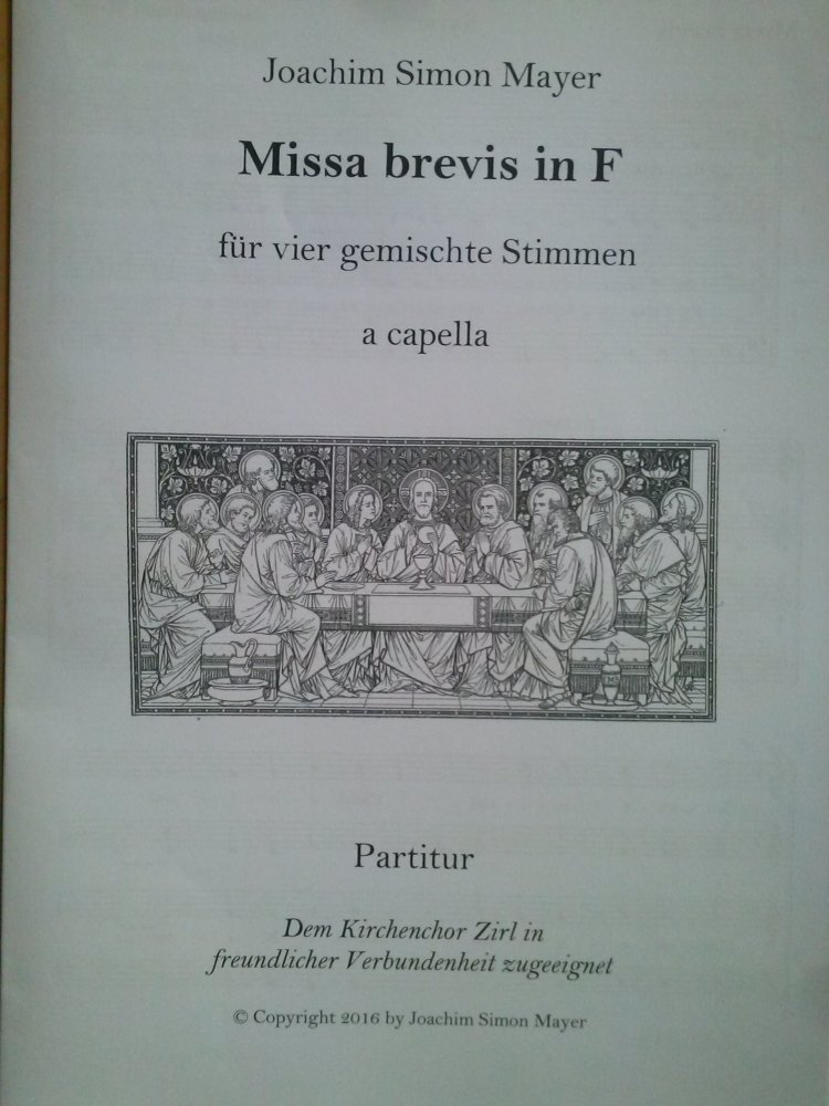 Missa brevis in F Joachim Mayer